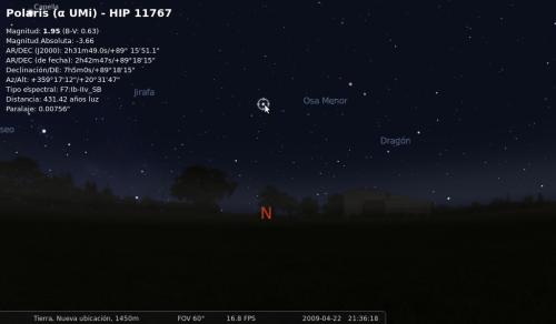 Stellarium nos muestra diversos datos de los objetos en el cielo