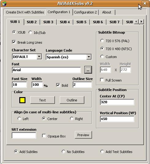 AVIAddXSubs nos permite configurar varios aspectos de los subtitulos, como color, tamaño y posición.