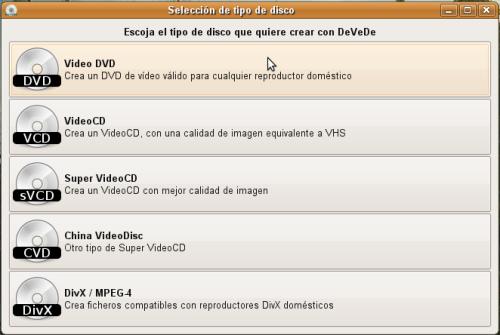 Vista principal del programa DeVeDe
