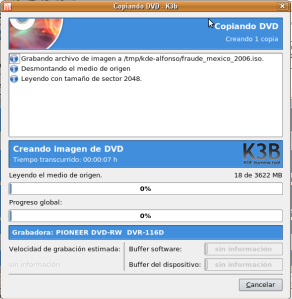Una vez termine de ripearlo nos pedirá el dvd en blanco si utiliza la misma bandeja para ambos trabajos.